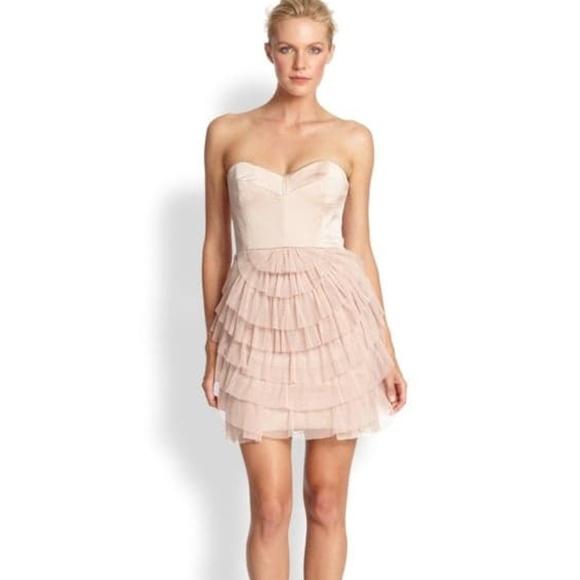 a4019c269 BCBGMaxAzria Dresses | Sas Pleated Skirt Dress Pink Tiered | Poshmark